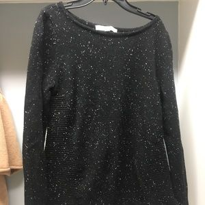 Loft Black Sweater with White Speckles.